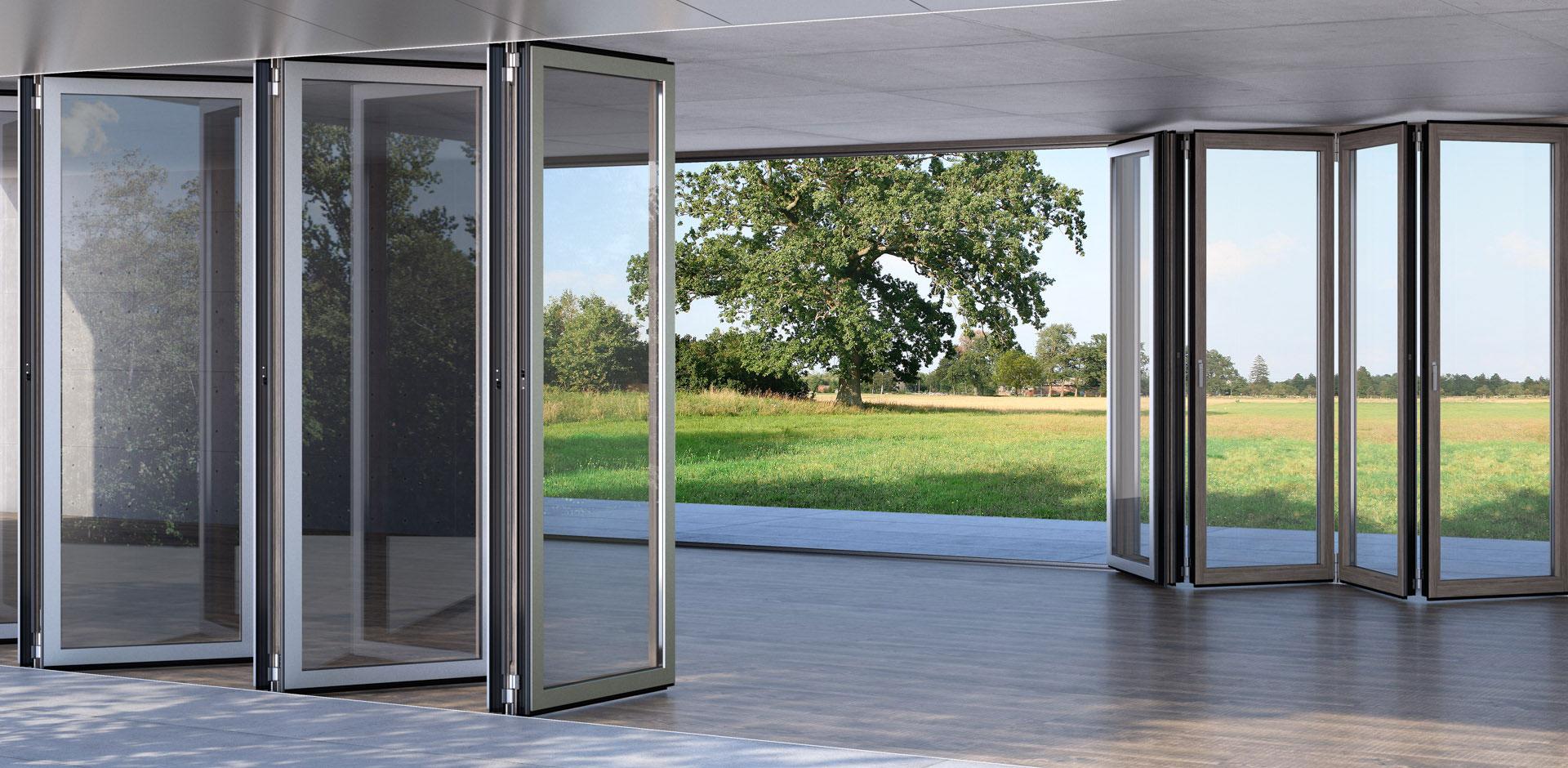 Glas-Faltwand Combiline aus Holz und Aluminium